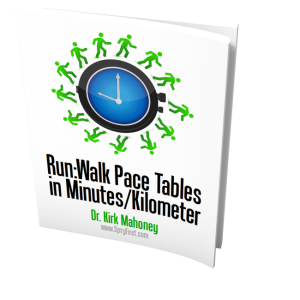 Run:Walk Pace Tables in Minutes/Kilometer
